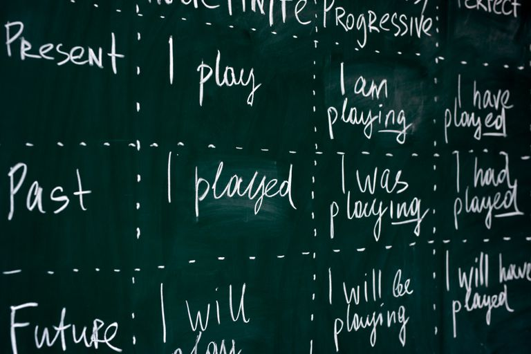 A chalkboard full of conjugated verb tenses