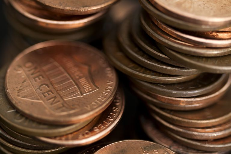 Loose stacks of US pennies, full frame