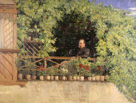 Painting of Friedrich Nietzsche on balcony garden (1844-1900)
