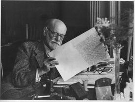 Sigmund Freud Editing a Manuscript