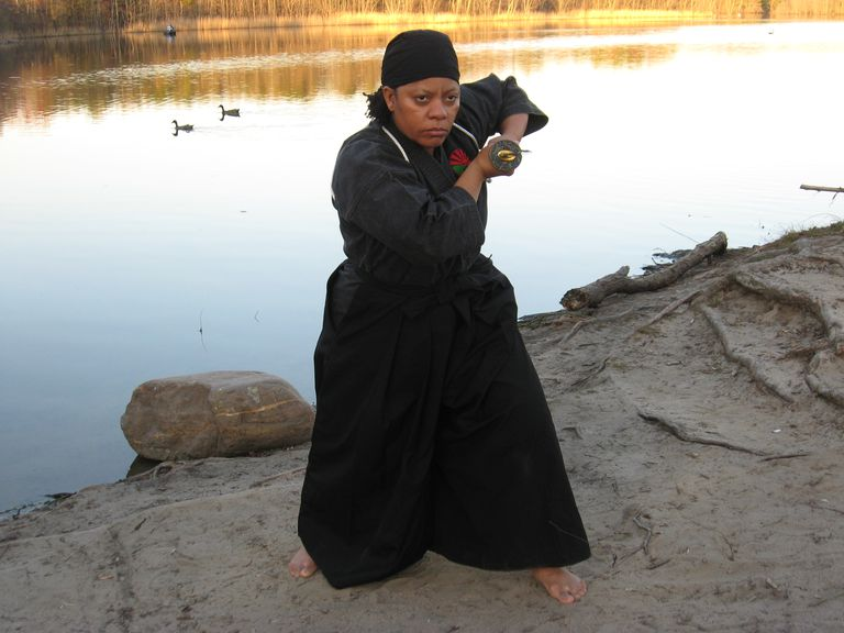 0 Tanya Jones, 514th Force Support Squadron human resources technician, demonstrates a Nisei Goju Ryu technique