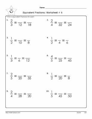 Equivalent Fraction Worksheets, 6th Grade Math