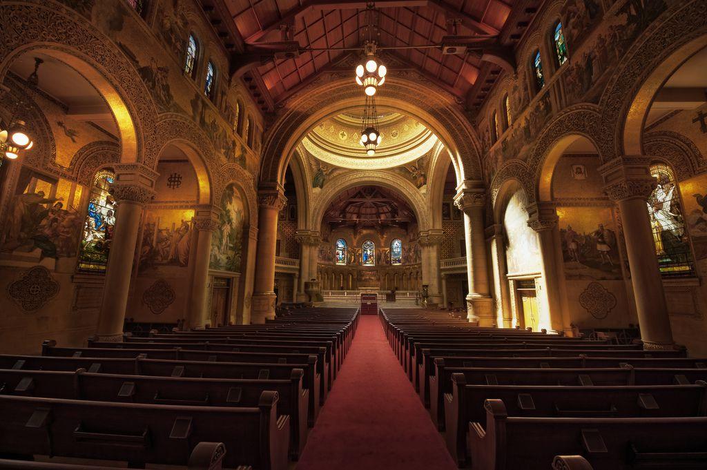 Church interior as seen looking down the aisle.