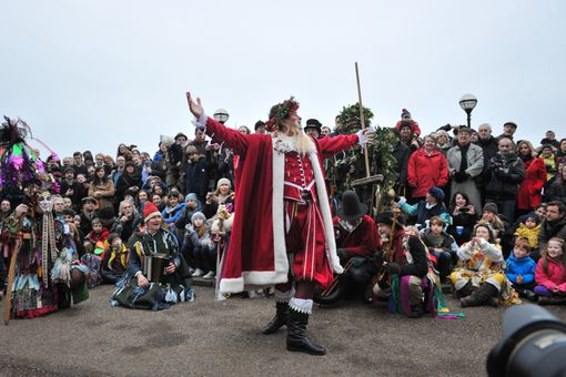 Father Christmas attends the Lions Part's 19th Twelfth Night celebrations at Shakespeare's Globe