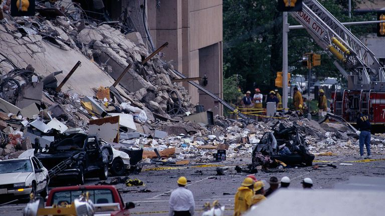 Debris of building and cars in the aftermath of the Oklahoma City Bombing