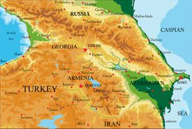Highly detailed physical map of Caucasus area