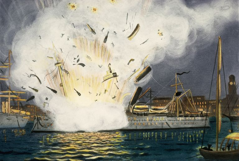 Illustration of Explosion of the USS Maine in Havana Harbor
