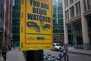 London, UK - A warning sign aimed at petty criminals, telling them they are under surveillance by the Metropolitan Police.