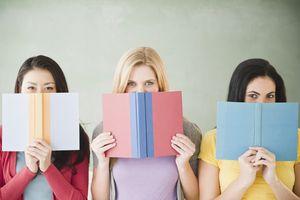 girls behind books