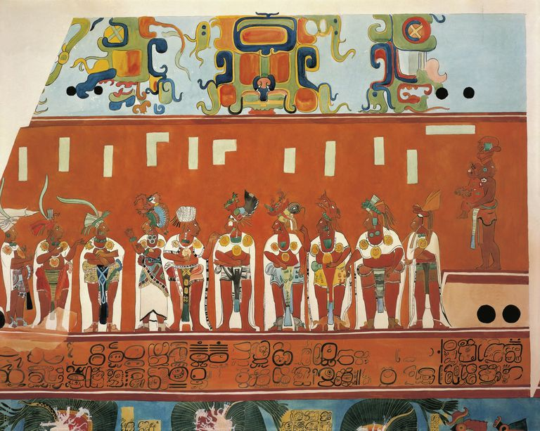 Frescoes in Bonampak, Chiapas (Mexico). Detail showing a scene of a feast. (reconstruction)