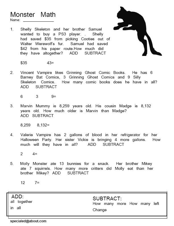 Monster Math Word Problems - Free PDFs for Halloween