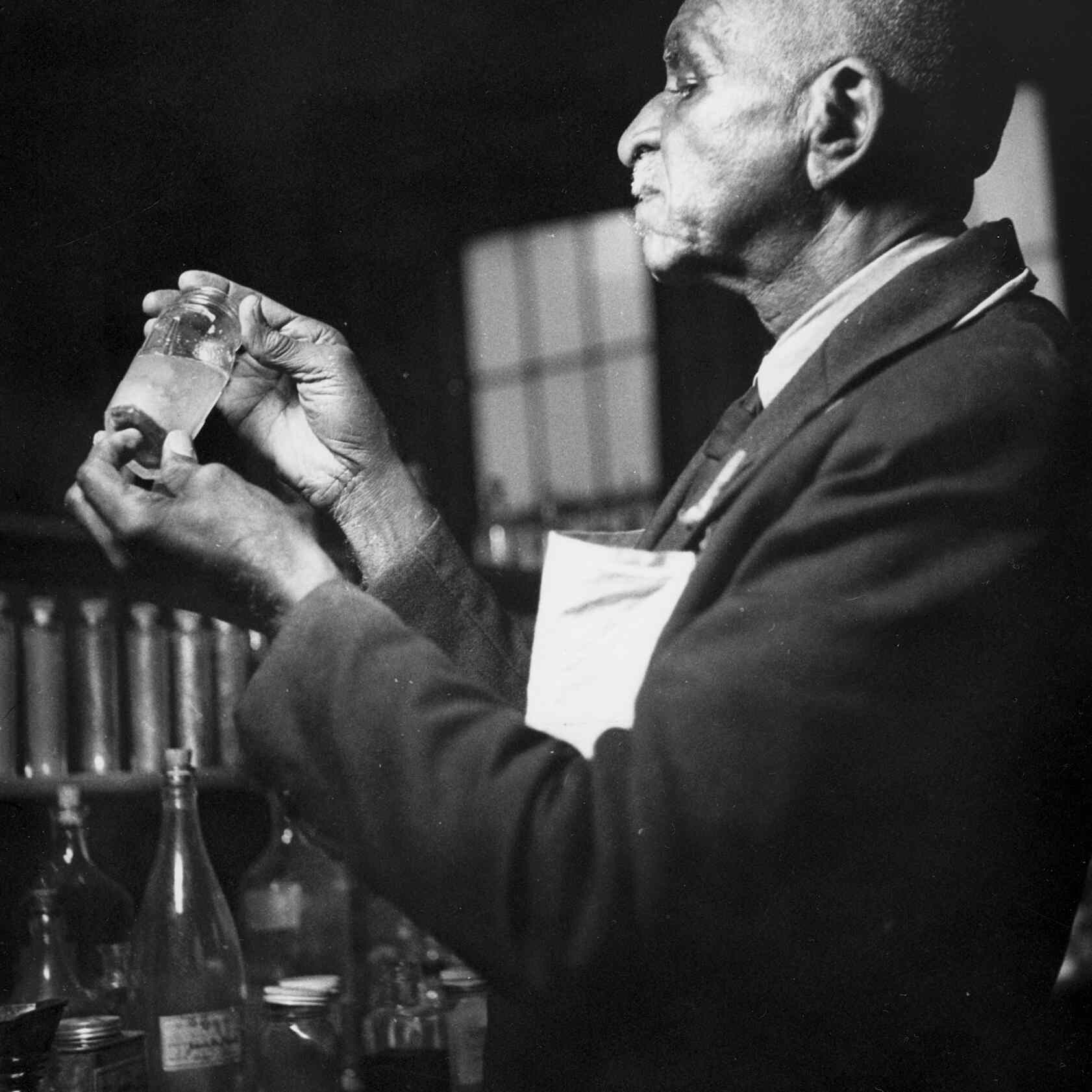 George Washington Carver at work at Tuskegee in September 1938.