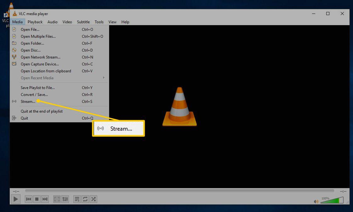 Stream menu option for VLC on WIndows