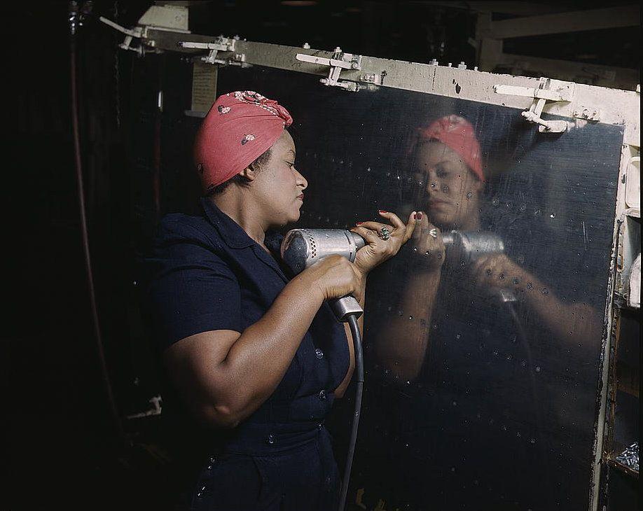 Woman Operating a Hand Drill, Vultee-Nashville, 1943