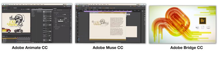 Image shows interfaces for Adobe Animate CC and Adobe Muse CC as well as splash screen from Adobe Bridge CC