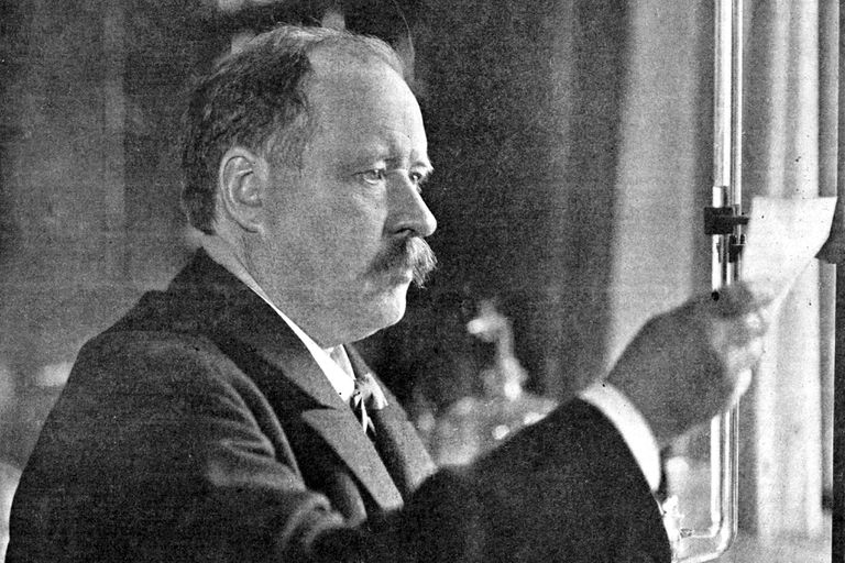 Svante Arrhenius (1859-1927) in his 1909 laboratory