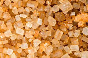 Macro shot of brown sugar grains