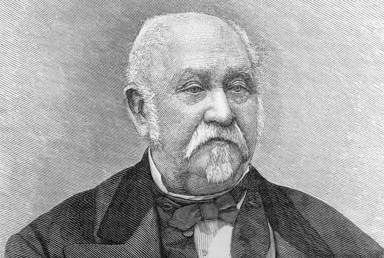 Engraved portrait of an elderly John Sutter