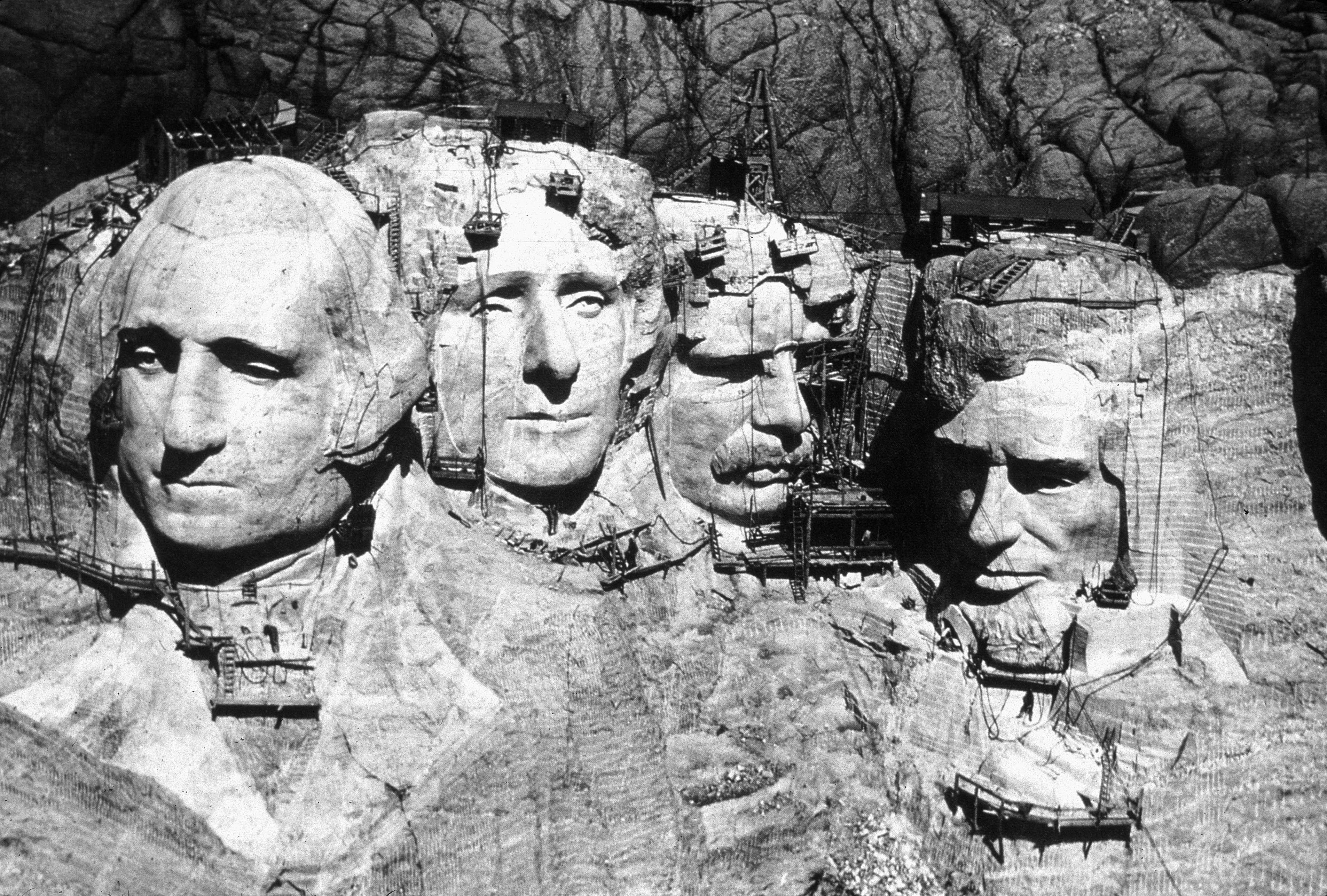 Mount Rushmore under construction.