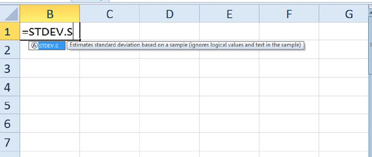 How to Use the STDEV.S Function in Excel