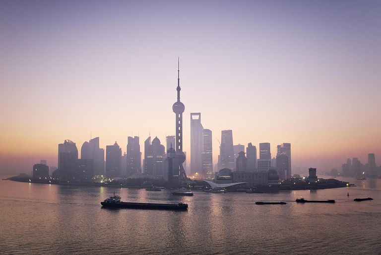 China, Shanghai skyline at dawn