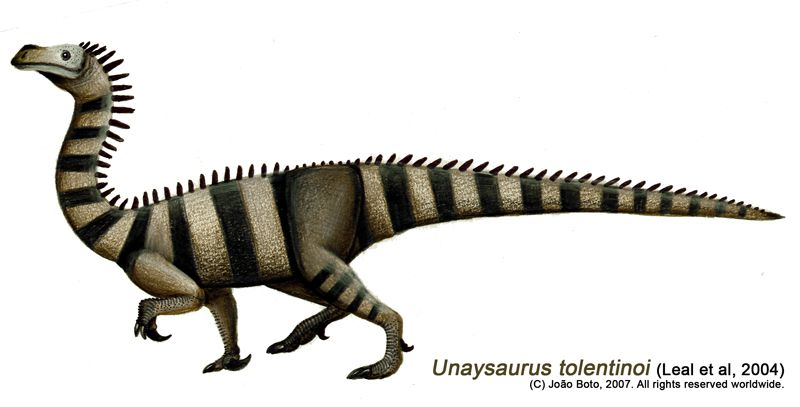 An illustration of a black-and-white striped <i>Unaysaurus</i>