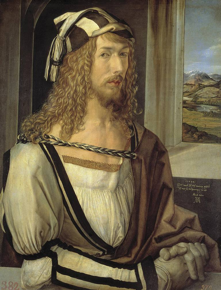 Self portrait by Albrecht Durer, oil on wood, 1498
