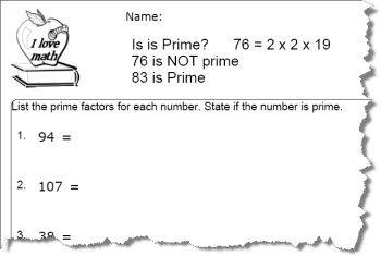 Prime Number Worksheet 8