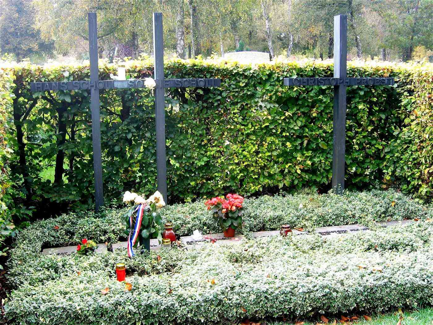 Graves of Hans Scholl, Sophie Scholl and Christoph Probst in the Munich cemetery Friedhof am Perlacher Forst.