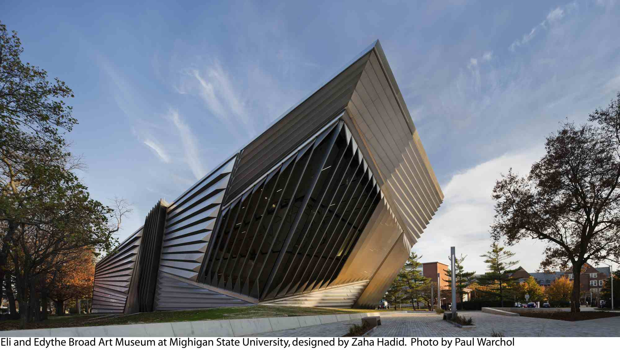 Grand opening of modern, horizontal, steel and glass art museum at Michigan State, 2012