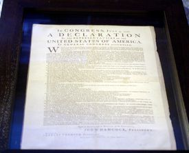 The Declaration of Independence contains a tricolon.