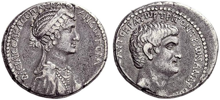 Silver Tetradrachm of Marc Antony and Cleopatra VII