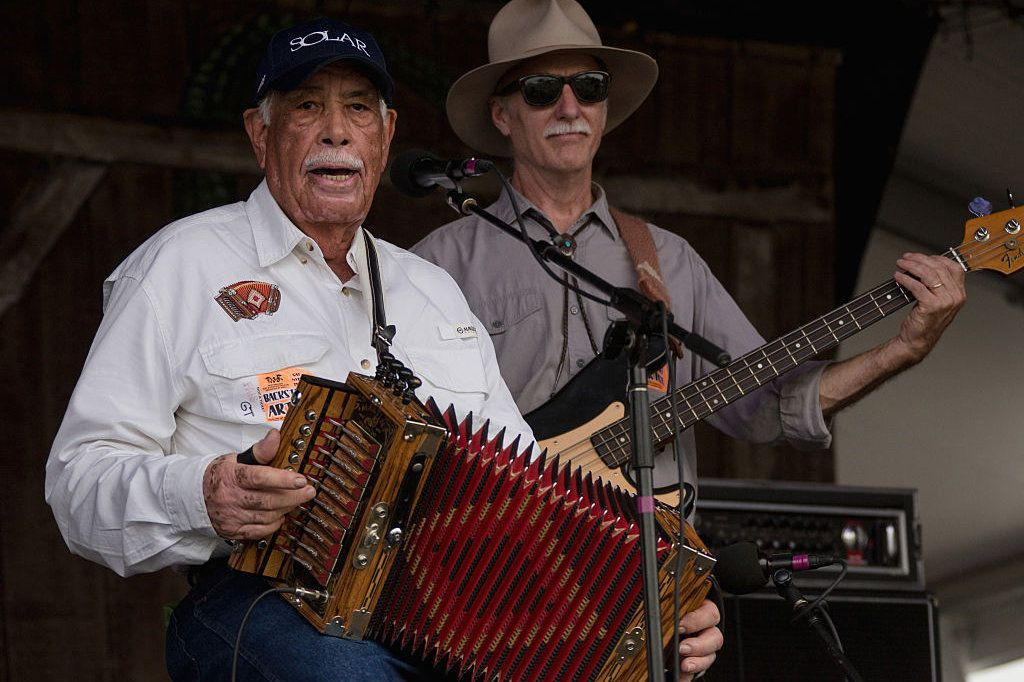 Goldman Thibodeaux and the Lawtell Playboys perform during the 2015 New Orleans Jazz & Heritage Festival
