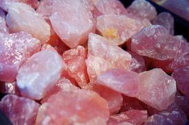 Rose quartz pieces close up.