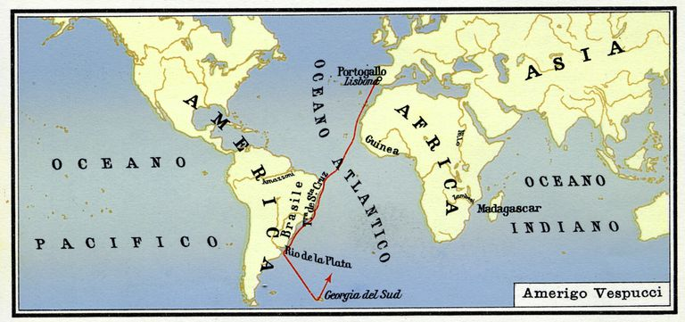 Map of Amerigo Vespucci's Journey to America
