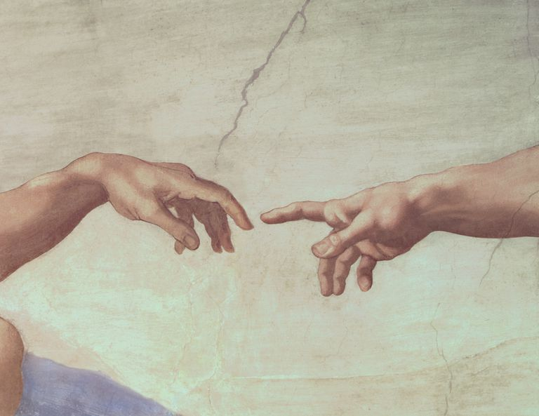 Hands of God and Adam, detail from The Creation of Adam, from the Sistine Ceiling, 1511 (fresco) (post-restoration)