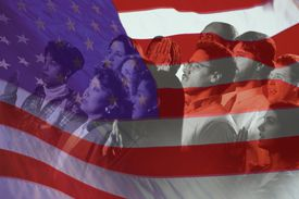 Group of people and American flag