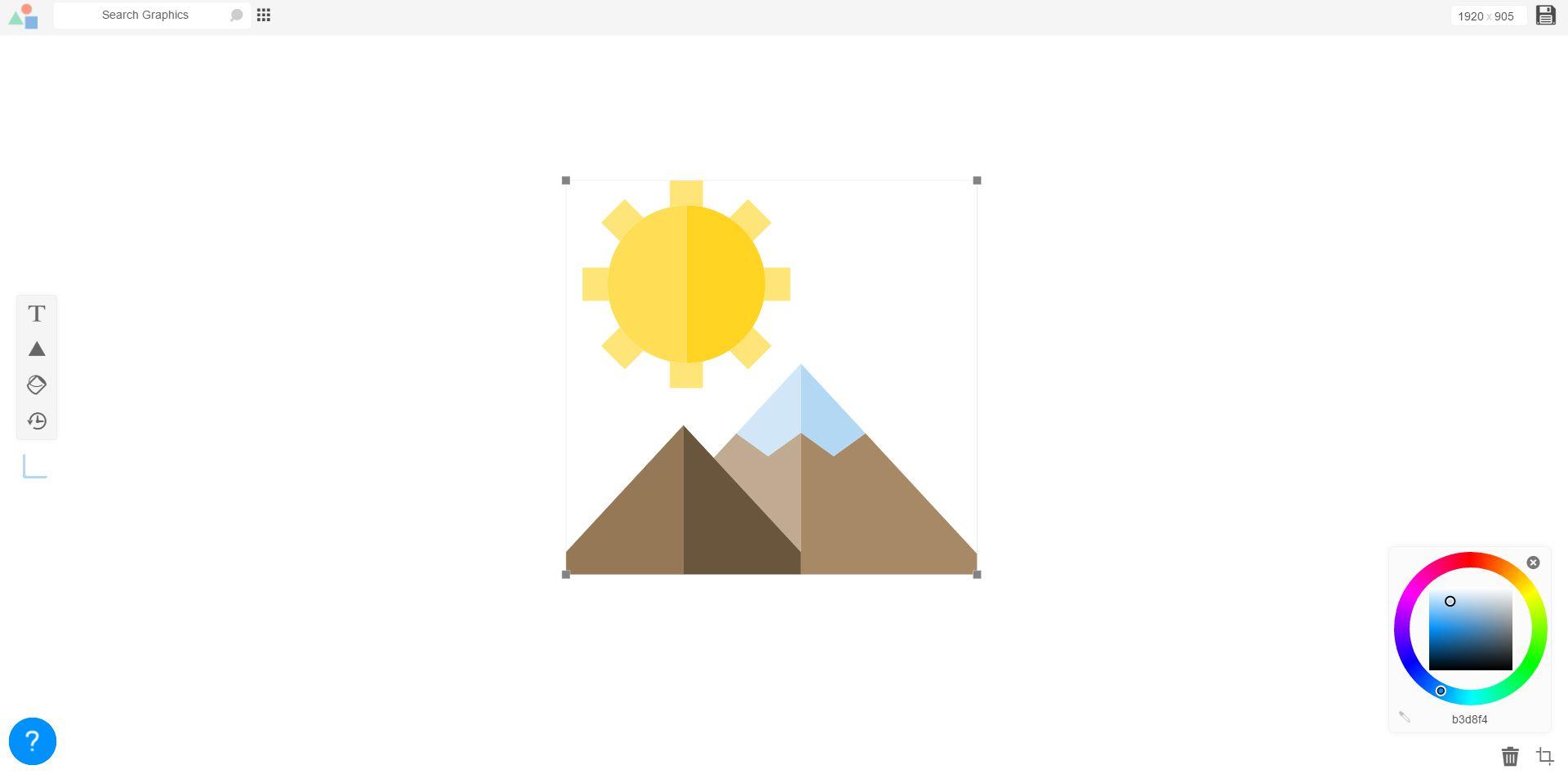 Screenshot of the LogoMakr free logo maker workspace