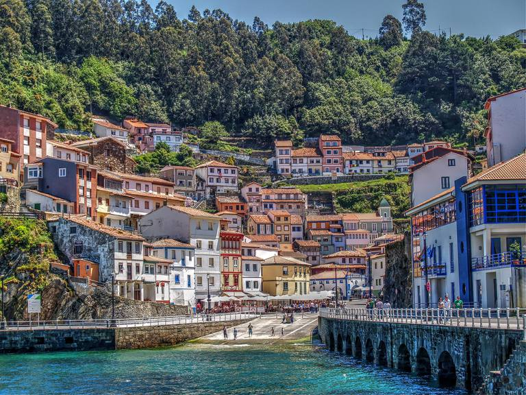 The fishing village of Cudillero is in Asturias, Spain, one of the regions where the Alvarez surname originated.