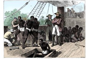 Captives Being Brought On Board A Slave Ship On The West Coast Of Africa (Slave Coast) C1880