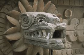 Mexico, Teotihuacan, Temple of Quetzalcoatl at Teotihuacan. Detail of carved head of plumed serpent.