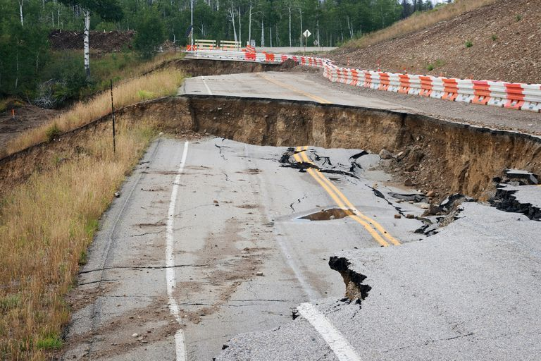 Collapsed road after a landslide