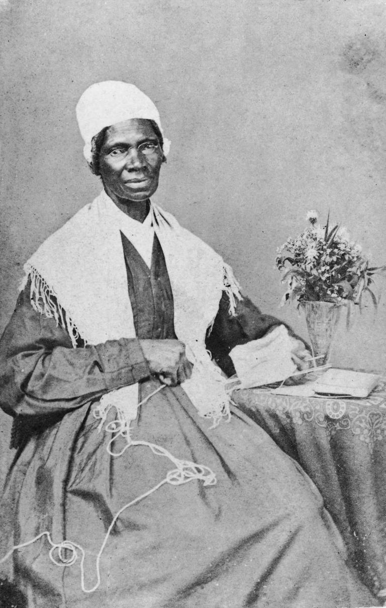 Portrait of Sojourner Truth knitting.