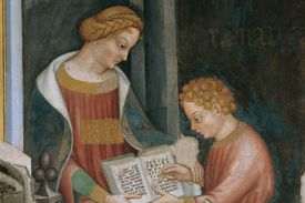 Arithmetic Personified: a female figure teaches arithmetic to a young boy