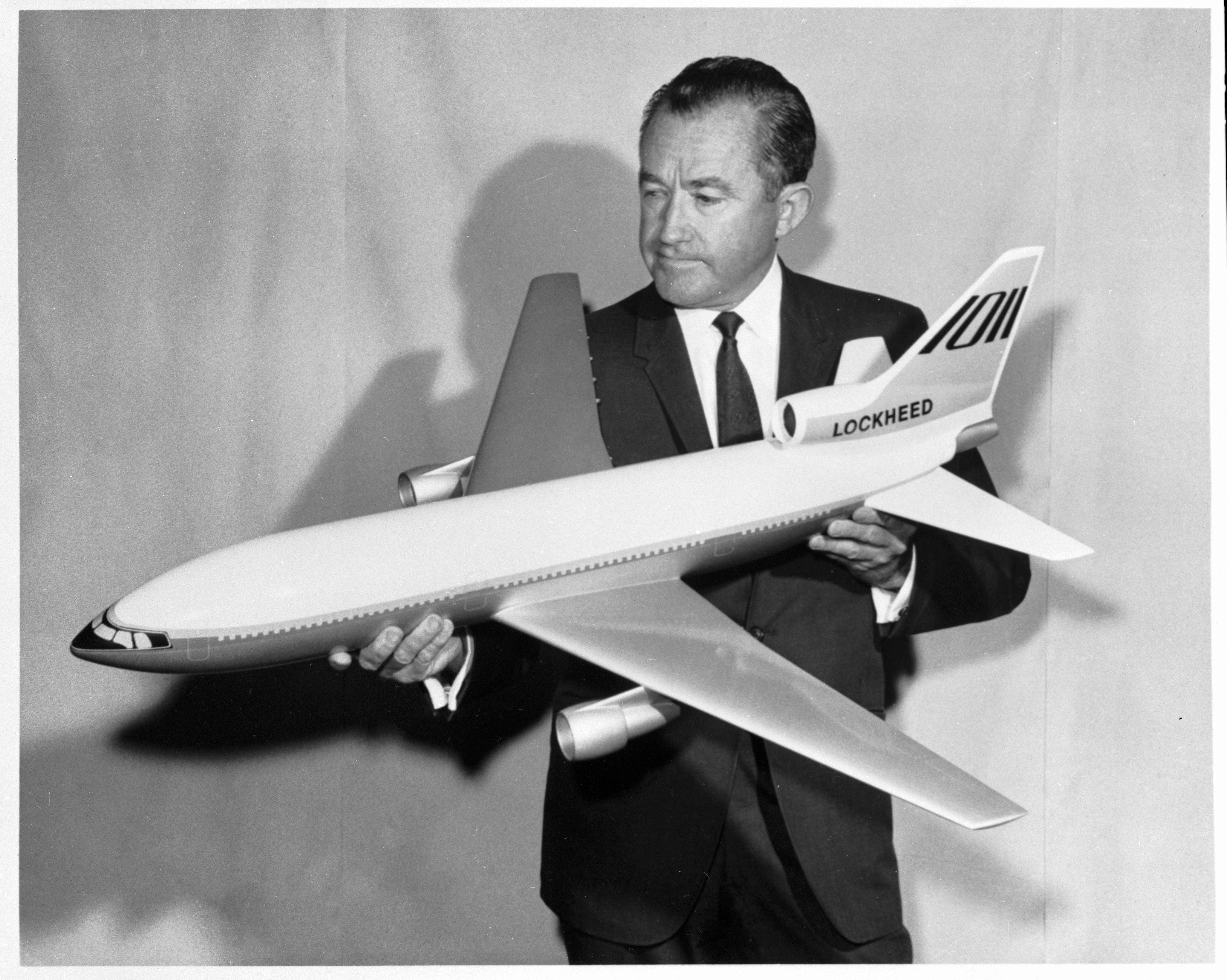 Model of Lockheed's proposed new large luxury jetliner, the L-1011,