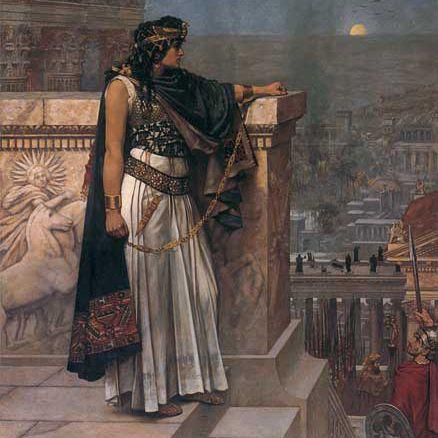 """""""Queen Zenobia's Last Look Upon Palmyra"""" Oil painting by Herbert Schmalz, 1888"""