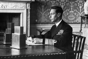 King George VI prepares a radio address