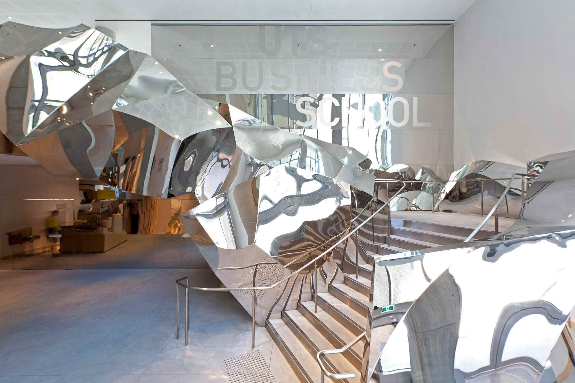 Inside steps of Frank Gehry designed Business School in Sydney, Australia