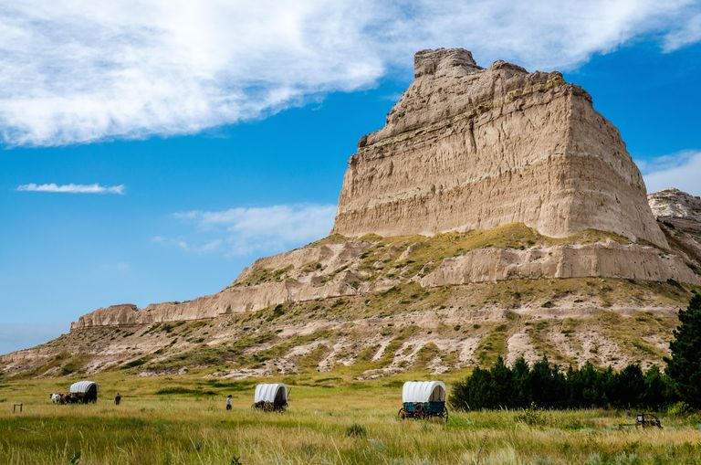 Reenactment of settlers passing through Mitchell Pass by Scotts Bluff along the Oregon Trail
