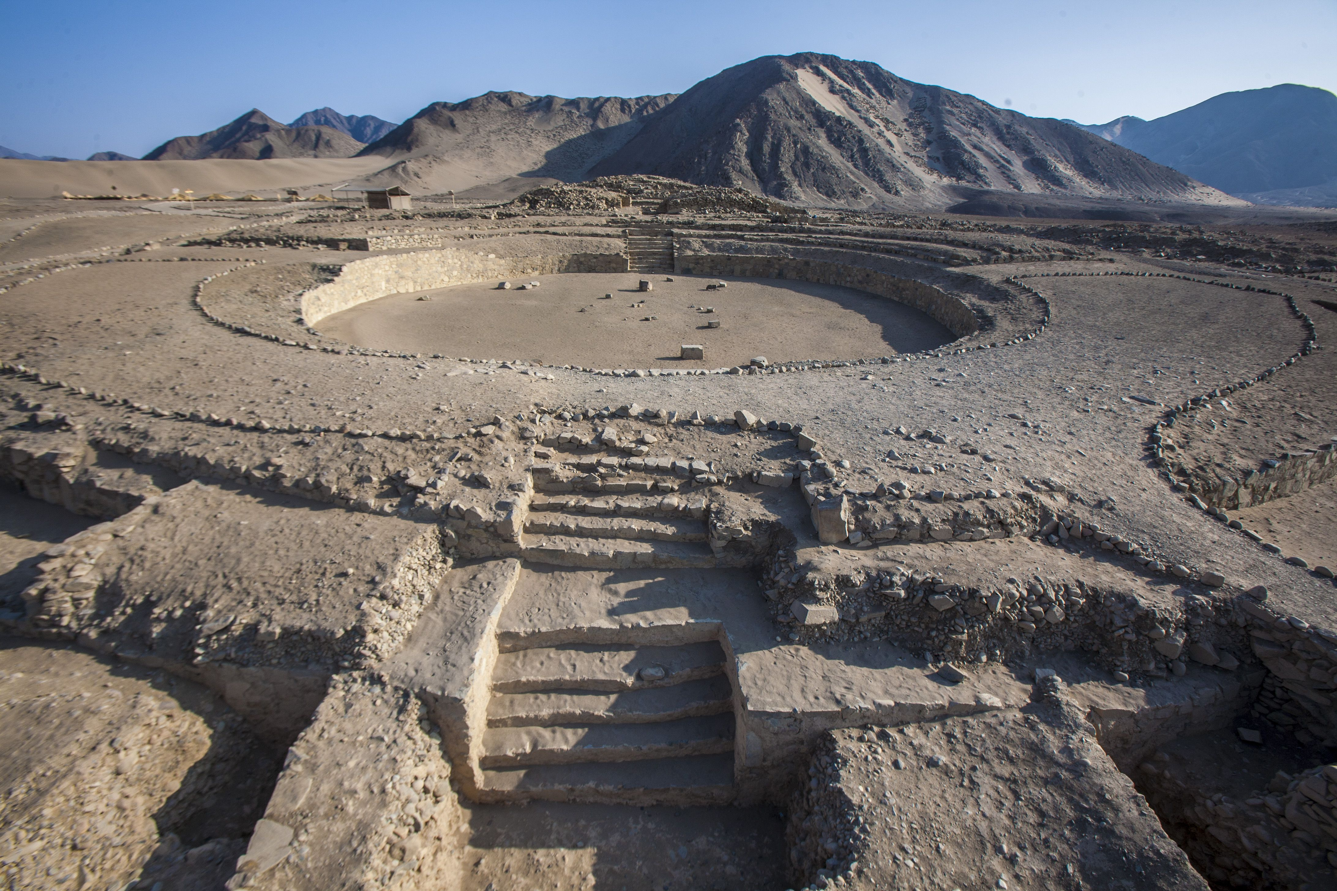 Caral-Supe ruins on sunny day.
